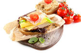 Delicious sandwiches with meet isolated on white — 图库照片