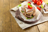 Delicious sandwiches with meet on table close-up — 图库照片