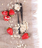 Strawberries with oatmeal and vintage spoons on sackcloth, isolated on white  — Stock Photo