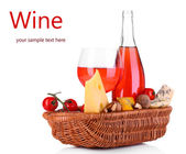 Pink wine and different kinds of cheese isolated on white — Stock Photo