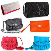 Collage of women's bags isolated on white — Stock Photo