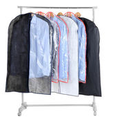 Office male shirts in cases for storing on hangers, isolated on white — Stock Photo