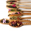 Assortment of dry tea in wooden spoons, isolated on white — Stock Photo #48322543
