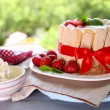 Tasty cake Charlotte with fresh strawberries on green nature background — Stock Photo