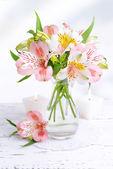 Alstroemeria flowers in vase on table on light background — Stock Photo