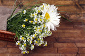Beautiful bouquet of daisies in wicker basket — Stock Photo