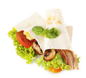 Veggie wrap filled with chicken and fresh vegetables isolated on white — Stock Photo