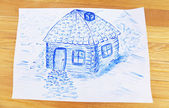 Kids drawing of house on table, close up — Stock Photo