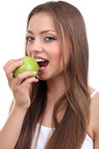 Krásná dívka s zelené jablko — Stock fotografie