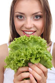 Beautiful girl with fresh lettuce — Stock Photo