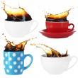Collage of cups of coffee with splashes, isolated on white — Stock Photo
