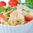 Delicious pasta with tomatoes on plate on table close-up — Stock Photo #48367705