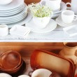 Different tableware on shelf, on wooden background — Stock Photo #48368035