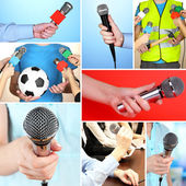 Collage of hands with microphone — Стоковое фото