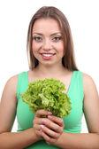 Beautiful girl with fresh lettuce — Foto Stock