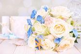 Beautiful wedding bouquet with sea decor — Stock Photo