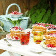 Tasty cake with fresh berries on table, close up — Stock Photo #48371405