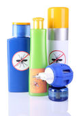 Bottles with mosquito repellent cream and fumigator — Stock Photo