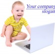 Cute little boy with laptop isolated on white — Stock Photo #48398649
