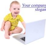 niño lindo con portátil aislado en blanco — Foto de Stock   #48398649
