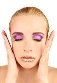 Beautiful woman with bright make-up — Stock Photo
