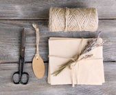 Concept of natural style design. Materials for decorating on wooden background — Stock fotografie