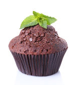 Chocolate muffin isolated on white — Stock Photo