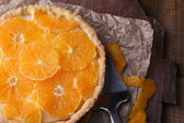 Homemade orange tart on wooden background — Foto Stock