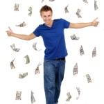Happy man enjoying rain of money, isolated on white — Stock Photo #48448619