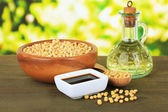 Soy products on table on bright background — Stok fotoğraf