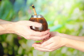 Man hands giving calabash and bombilla with yerba mate, on nature background — Stock Photo