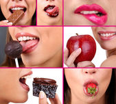 Collage of female mouth desire eating — Foto de Stock