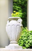 Stone planter with flowers near driveway of house — Stock Photo