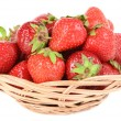 Ripe sweet strawberries in wicker basket isolated on white — Stock Photo #48451943