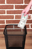Throwing away your money on brick wall background — Stock Photo