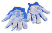 Dirty used fabric gloves isolated on white — ストック写真