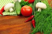 Koken concept. boodschappen op houten tafel — Stockfoto