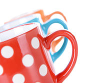 Color polka dot mugs — Stock Photo
