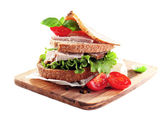 Delicious sandwiches with meet — Stock Photo