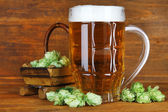 Glass of beer and hops — Stock Photo