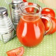 Tomato juice in glass jug — Stock Photo #48600061