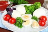 Boiled eggs on plate — Stockfoto