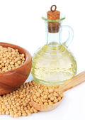 Soy beans and oil — Stock Photo