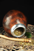 Calabash and bombilla with yerba mate — Stock Photo