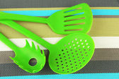 Plastic kitchen utensils — Stock Photo