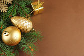 Beautiful Christmas decorations on fir tree — Stock Photo