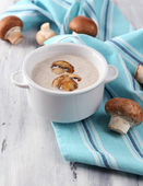 Mushroom soup in white pot — Foto Stock