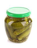 Pickles in glass jar — Stock Photo