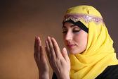 Beautiful muslim arabic woman praying — Stock Photo
