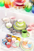 Different tableware on shelf, close up — Stock Photo